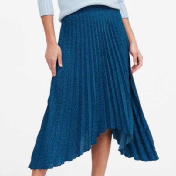 Espresso brocade satin pleated skirt